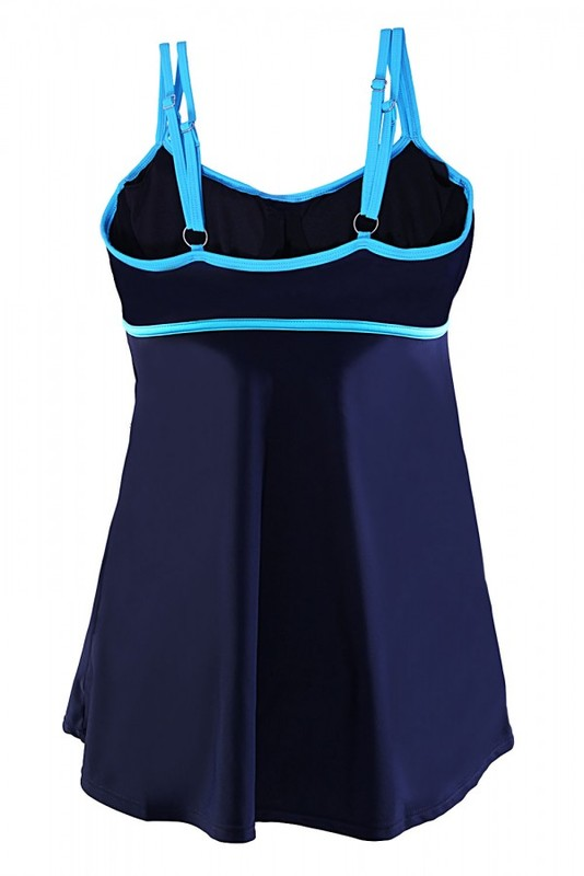 Lacivert Etekli Birleşik Elbise Mayo - Thumbnail