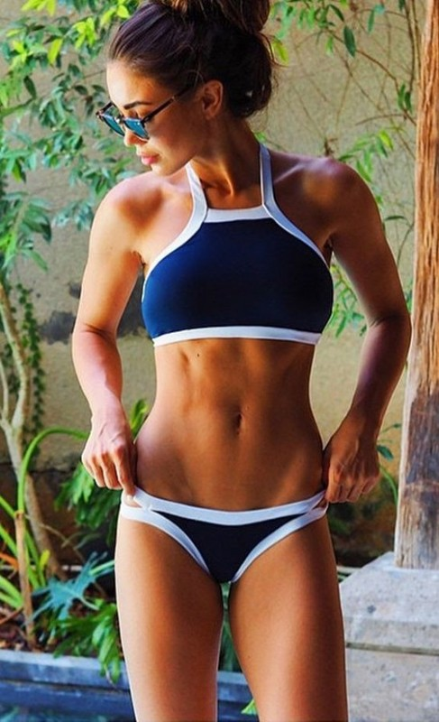 Lacivert Özel Tasarım Tankini Bikini - Thumbnail