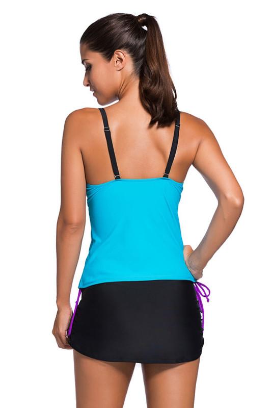 Şık Renkli Tankini Etekli Bikini Takım - Thumbnail