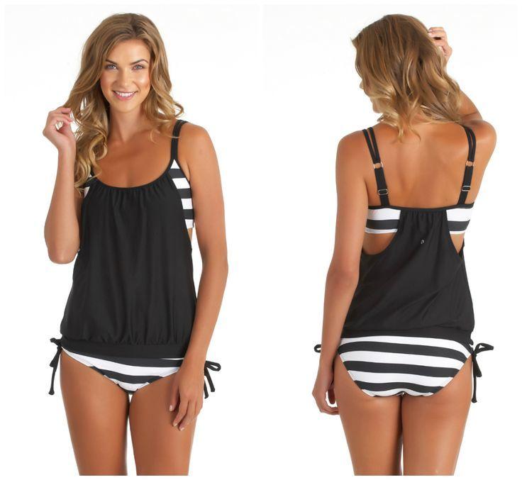Siyah Beyaz Kalın Cizgili Tankini Bikini Takım