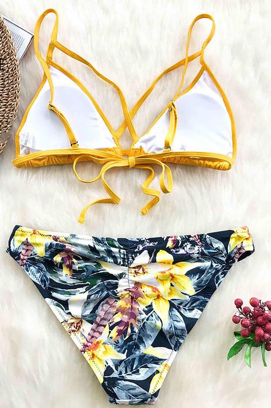 Baskılı Üstü Sarı Bikini Takım Çok Renkli - Thumbnail