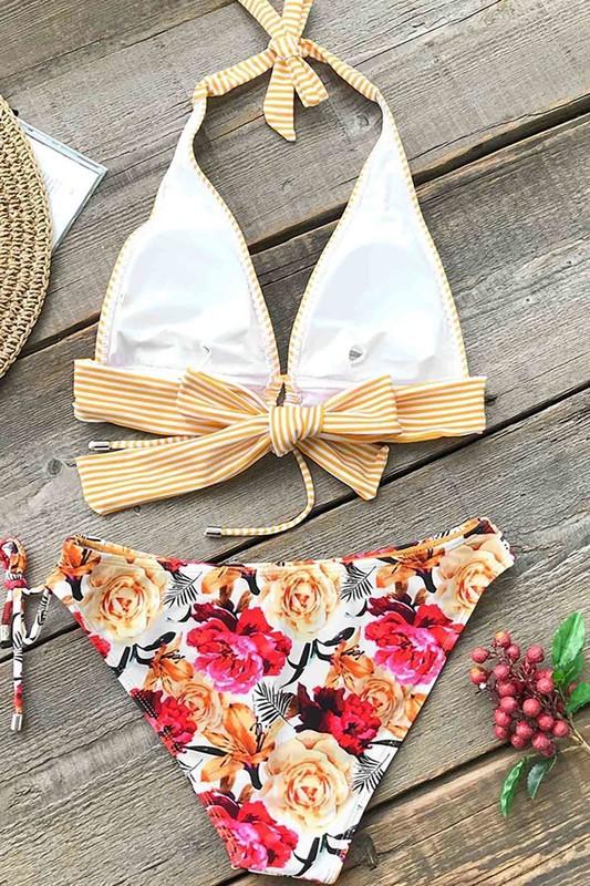 Önden Bağlamalı Bikini Takım Çok Renkli - Thumbnail