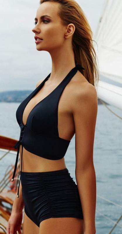 Siyah Yüksek Bel Bikini Takım - Thumbnail